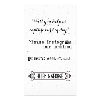 Modern typography with Instagram hashtag wedding Business Card Template