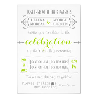Modern typography with Instagram hashtag wedding Card