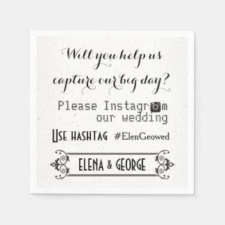Modern typography with Instagram hashtag wedding Napkin