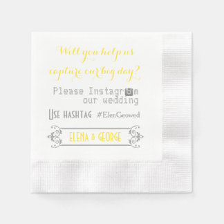Modern typography with Instagram hashtag wedding Paper Napkin
