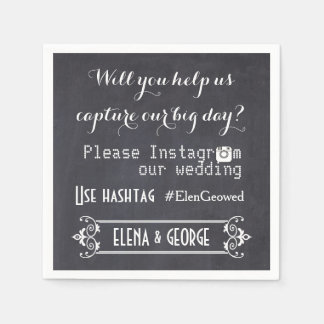 Modern typography with Instagram hashtag wedding Paper Napkins