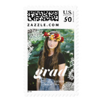 Modern Typography with Lace Photo Graduation Postage