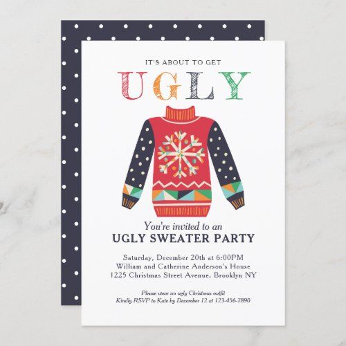 Modern Ugly Sweater Holiday Party Chic Christmas Invitation