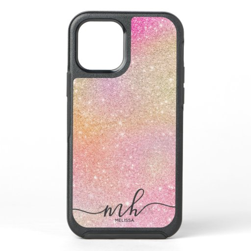 Modern unicorn glitter holographic chic monogram OtterBox symmetry iPhone 12 case