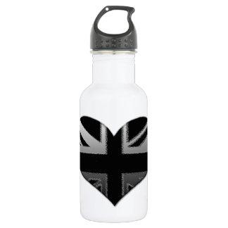 Modern Union Jack Heart Flag Water Bottle