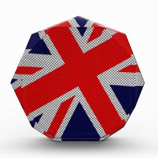 Modern Union Jack on Carbon Fiber Style Print Acrylic Award