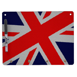 Modern Union Jack on Carbon Fiber Style Print Dry Erase Board With Keychain Holder