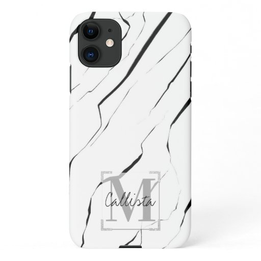 Modern Unique Black White Marble Monogram iPhone 11 Case
