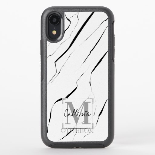 Modern Unique Black White Marble Monogram OtterBox Symmetry iPhone XR Case