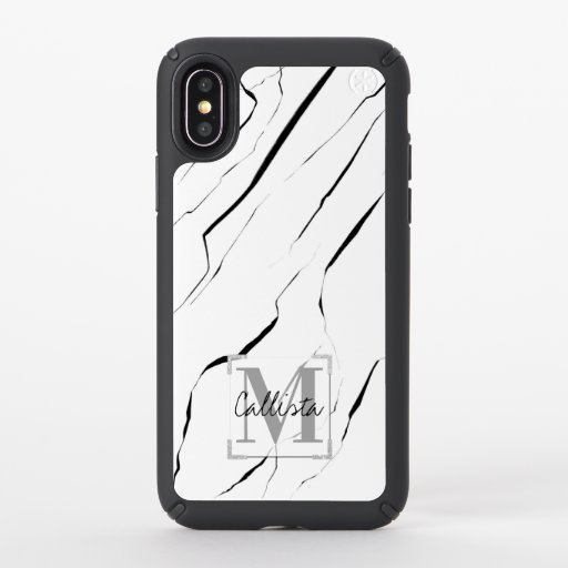 Modern Unique Black White Marble Monogram Speck iPhone X Case