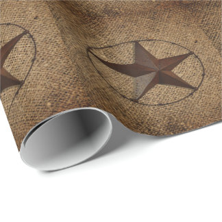 Modern  unique burlap western country texas star wrapping paper