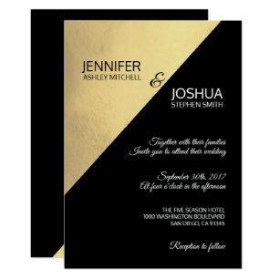 Black And Gold Wedding Invitations Zazzle