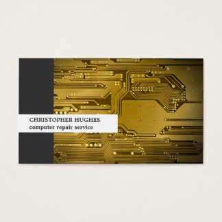 Modern Unique Photo Gold Circuit Board Computer Business Card