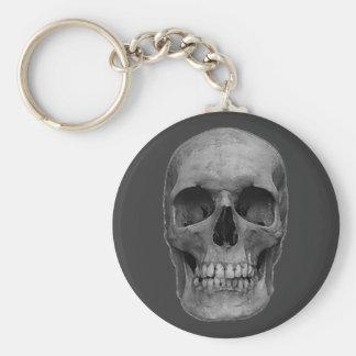 Modern Unique Trendy Greyscale Skull Keychain