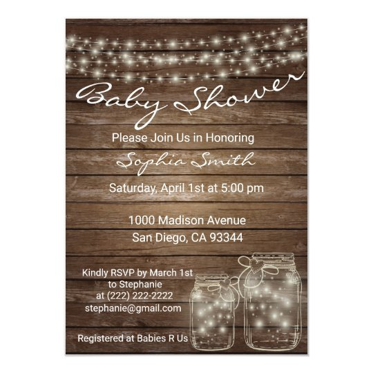 Modern Unique Wood Rustic Mason Jar Baby Shower Invitation Zazzle Com