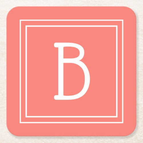 Modern Updated Monogrammed Coral  White Initial Square Paper Coaster