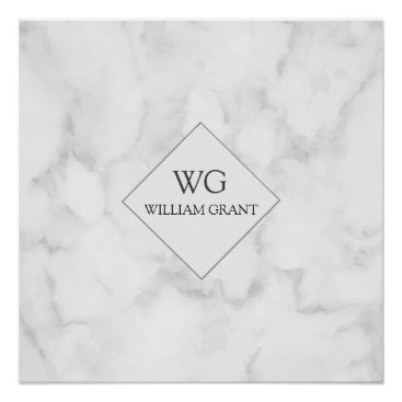 Professional Business Modern Upscale Business Monogram on White Marble Poster