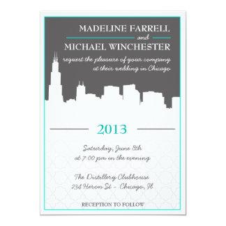 Modern Urban Chicago Skyline Wedding Invitation