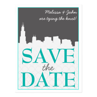 Modern Urban Cityscape Save the Date Postcards
