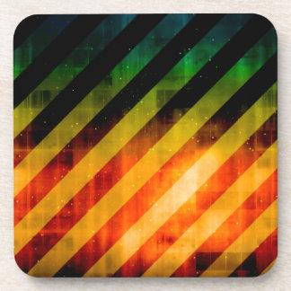 Modern Urban Vivid Striped Warning Coaster