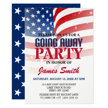 Modern US Flag Patriotic Military Going Away Party Invitation