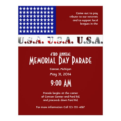 Modern USA Flag Graphic Memorial Day Flyers