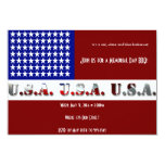 "Modern USA Flag Graphic Memorial Day 3.5"" X 5"" Invitation Card"