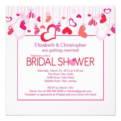 Modern Valentine Hearts Bridal Shower Invitation