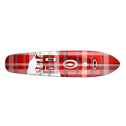 Modern vase skateboard in red plaid