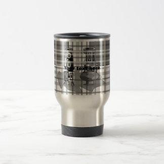 Modern vases in black gray and white plaid 15 oz stainless steel travel mug