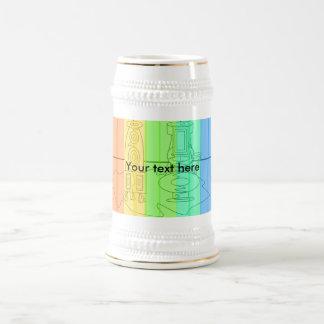 Modern vases in rainbow stripes 18 oz beer stein