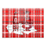 """Modern vases in red plaid 5"""" x 7"""" invitation card"""