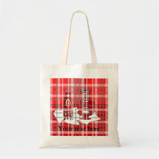 Modern vases in red plaid tote bags