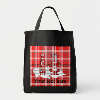 Modern vases in red plaid bags