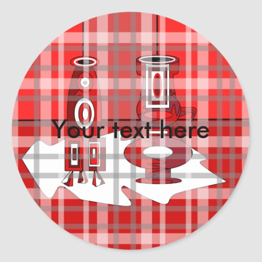 Modern vases in red plaid classic round sticker