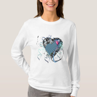 Modern Vector Long Sleve T - Hearts And Flowers T-Shirt