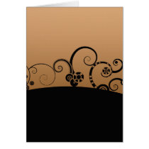 Modern vector swirl cog wheel flowers graphic card