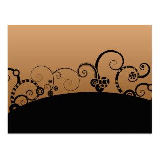 Modern vector swirl cog wheel flowers graphic postcard