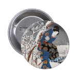 Modern Version of the Tale of Genji in Snow Scene Pinback Buttons