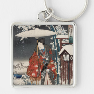 Modern Version of the Tale of Genji in Snow Scene Silver-Colored Square Keychain