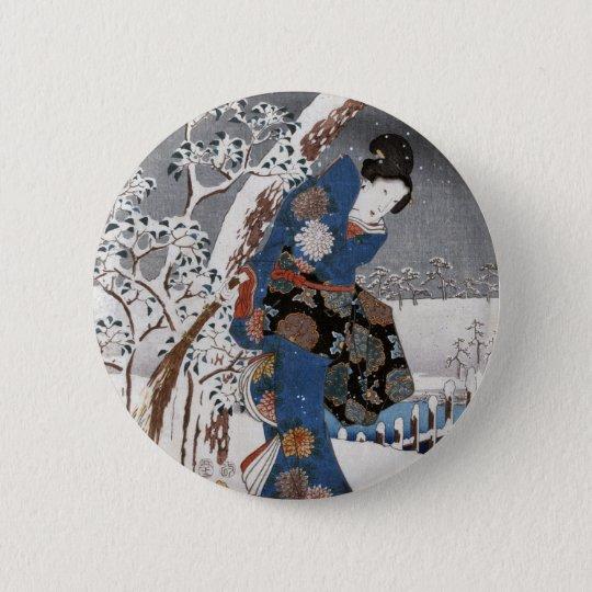 Modern Version of the Tale of Genji in Snow Scene Pinback Button