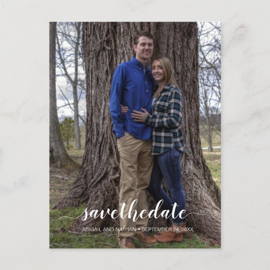 Modern Vertical Typography Photo Save The Date Announcement Postcard