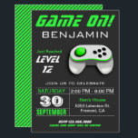 "Modern Video Game Green Kids Birthday Party Invitation<br><div class=""desc"">This modern kids birthday party invite features a neon green and white video game controller and modern typography. Simply add your event details on this easy-to-use template to make it a one-of-a-kind invitation. Flip the card over to reveal green and grey stripes pattern on the back of the card.</div>"