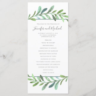 Modern Vines Botanical Wedding Program