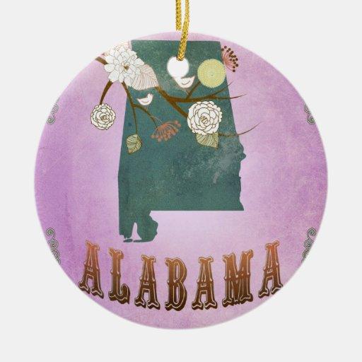 Modern Vintage Alabama State Map- Grape Purple Double-Sided Ceramic Round Christmas Ornament