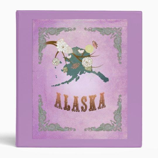 Modern Vintage Alaska State Map- Sweet Lavender 3 Ring Binder