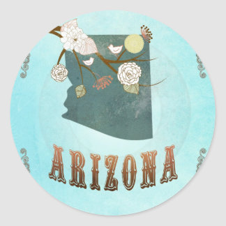 Modern Vintage Arizona State Map – Aqua Blue Classic Round Sticker