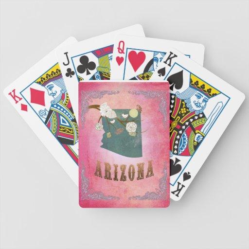 Modern Vintage Arizona State Map- Candy Pink Bicycle Playing Cards