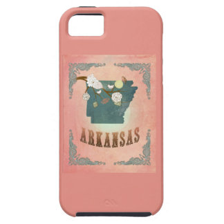 Modern Vintage Arkansas State Map- Pastel Peach iPhone 5 Covers