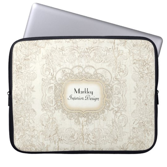 Modern Vintage Art Lace Tea Stained Aged Swirls Laptop Sleeve